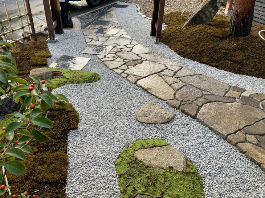別所温泉での造園工事(露地風庭園)